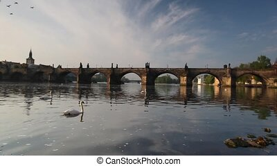 Charles Bridge in Prague - View from Kampa of Charles Bridge...