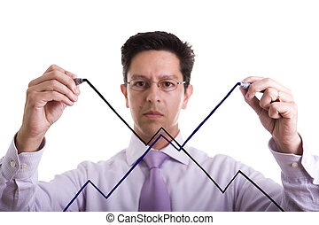uncertainty market evolution - businessman drawing an...