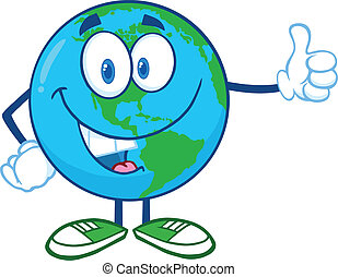 Earth Character Showing Thumbs Up - Earth Cartoon Mascot...