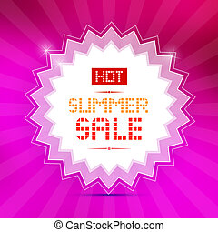 Vector Hot Summer Sale Title on Pink Background