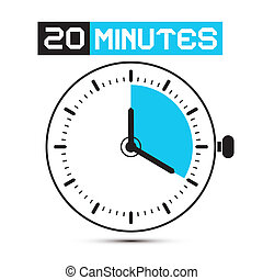 Twenty Minutes Stop Watch - Clock Vector Illustration