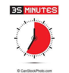 Thirty Five Minutes Stop Watch - Clock Vector Illustration