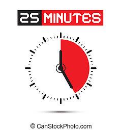 Twenty Five Minutes Stop Watch - Clock Vector Illustration