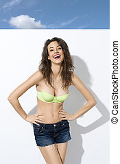 happy smiling summer girl - pretty young woman in green bra...