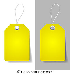 Yellow price tags - Blank yellow price tags on white and...