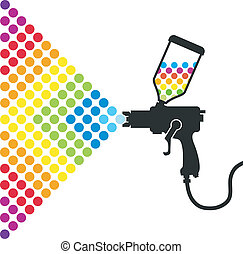 paint spray gun - Gun sprays a paint color for the vector