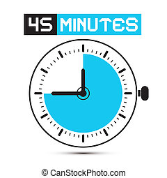 Forty Five Minutes Stop Watch - Clock Vector Illustration