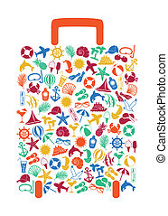 travel suitcase of summer icons