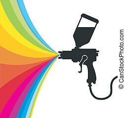 spray paint vector - Silhouette gun spray paint color,...