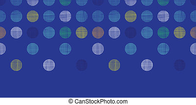 Abstract textile polka dots on blue horizontal seamless pattern background