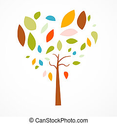 Abstract Heart Shaped Tree on White Background