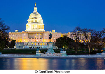 US Capitol Building dusk - US Capitol Building at dusk,...