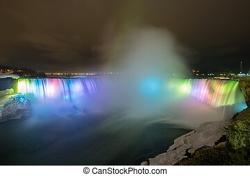 Niagara Falls Light at night - Illumination light of...