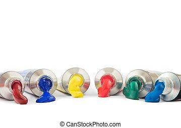 Tempera tubes - Various colored tubes tempera on white...