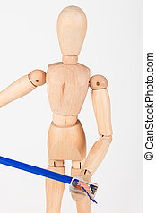 Small wood mannequin stand sharpen colour pencil isolated on...