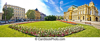 Zagreb theater square panoramic view, Croatia