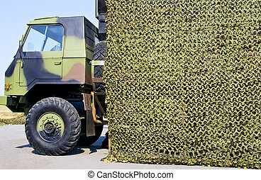 military vehicle truck with camoufl
