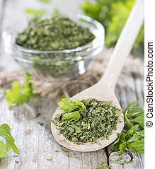 Portion of dried Parsley - Small portion of dried Parsley on...