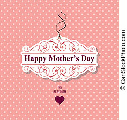 happy mother's day - pink and polka dot background, mothers...