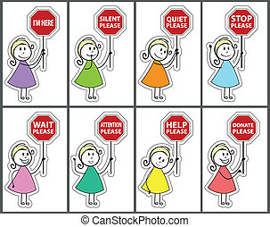 Signs and daughter cartoon - cute girl and red colors, the...