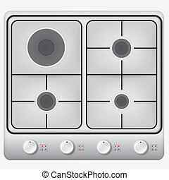 Illustration of hob - Gray hob with four circle burners and...