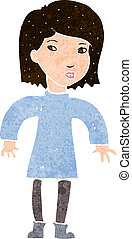 cartoon cautious woman