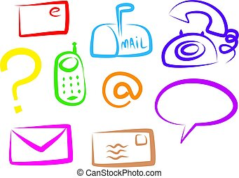 communication icons - A set of colourful simple line...