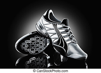 Athletic shoe on black background