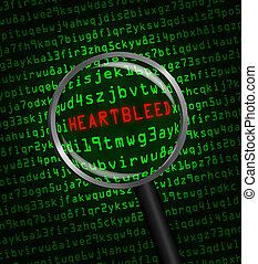 "The word ""Heartbleed"" revealed in computer machine code through a magnifying glass"