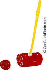 cartoon croquet mallet and ball