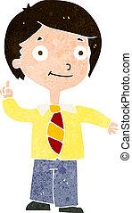 cartoon school boy answering question