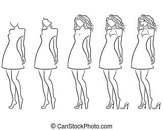 Alluring women contour in hand drawing sequence - Alluring...
