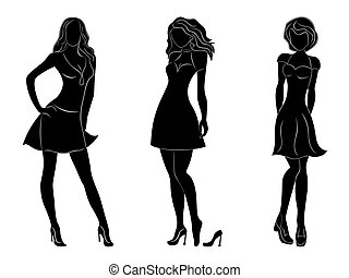 Three beautiful slim women silhouettes - Three beautiful...