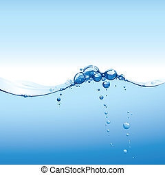 Clear Water Wave With Bubbles, editable vector illustration