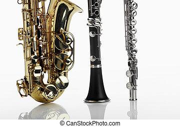 saxófono, clarinete, flauta