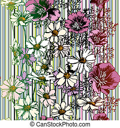 Seamless Flower Pattern, editable vector illustration