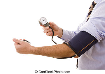 hypertension test - businessman testing his clinical status...