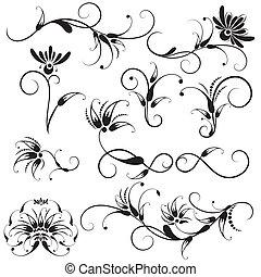 décoratif, floral, conception, éléments