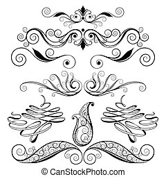 decorativo, floral, desenho, elementos