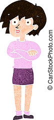 cartoon woman wit crossed arms - cartoon woman with crossed...