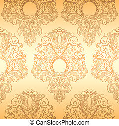 Seamless Classic Wallpaper Ornament Pattern, editable vector...
