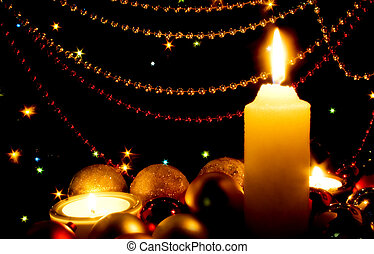 Christmas card - Candles and Christmas-tree decorations