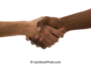 multirracial handshake from an african and a caucasian mens...