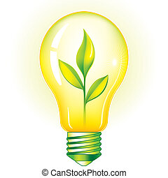Green Light Bulb With Green Leaves, editable vector...