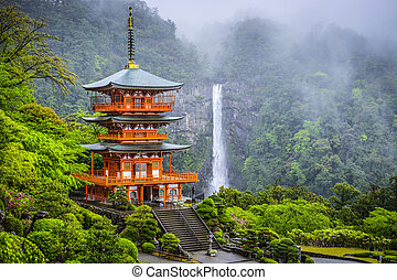 Nachi, Japan at Nachi Taisha Shrine Pagoda and waterfall.