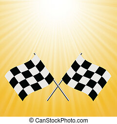 checkered flags - colorful illustration with checkered flags...