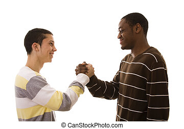 multiracial friends making a deal (isolated on white)