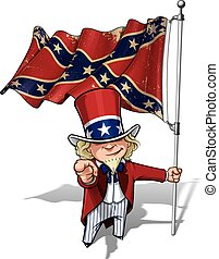 Dixie Sam I Want You Stars and Bars - Vector Cartoon...