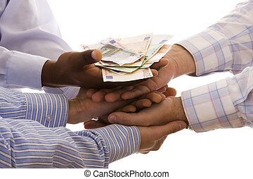 receiving the money - multiracial hands united to receive...