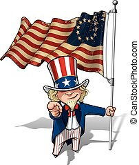 Uncle Sam I Want You - Betsy Ross Flag - Vector Cartoon...